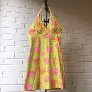 Vintage Lilly Pulitzer Yellow Crab Halter Dress 4